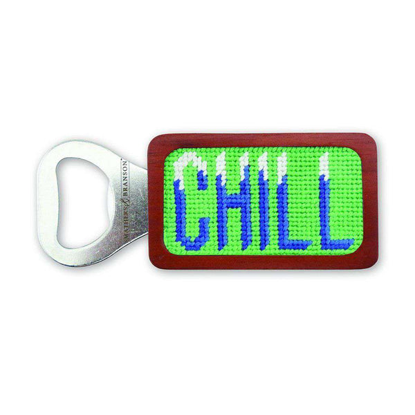 Chill Needlepoint Bottle Opener in Mint by Smathers & Branson