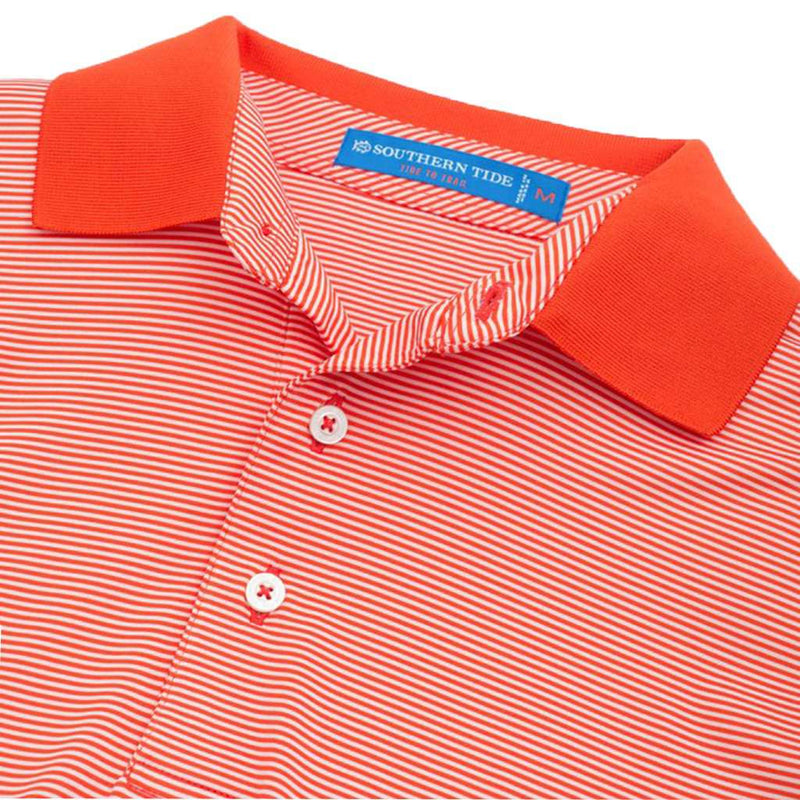 Gameday Feeder Stripe Performance Polo- Clemson University in Endzone Orange by Southern Tide