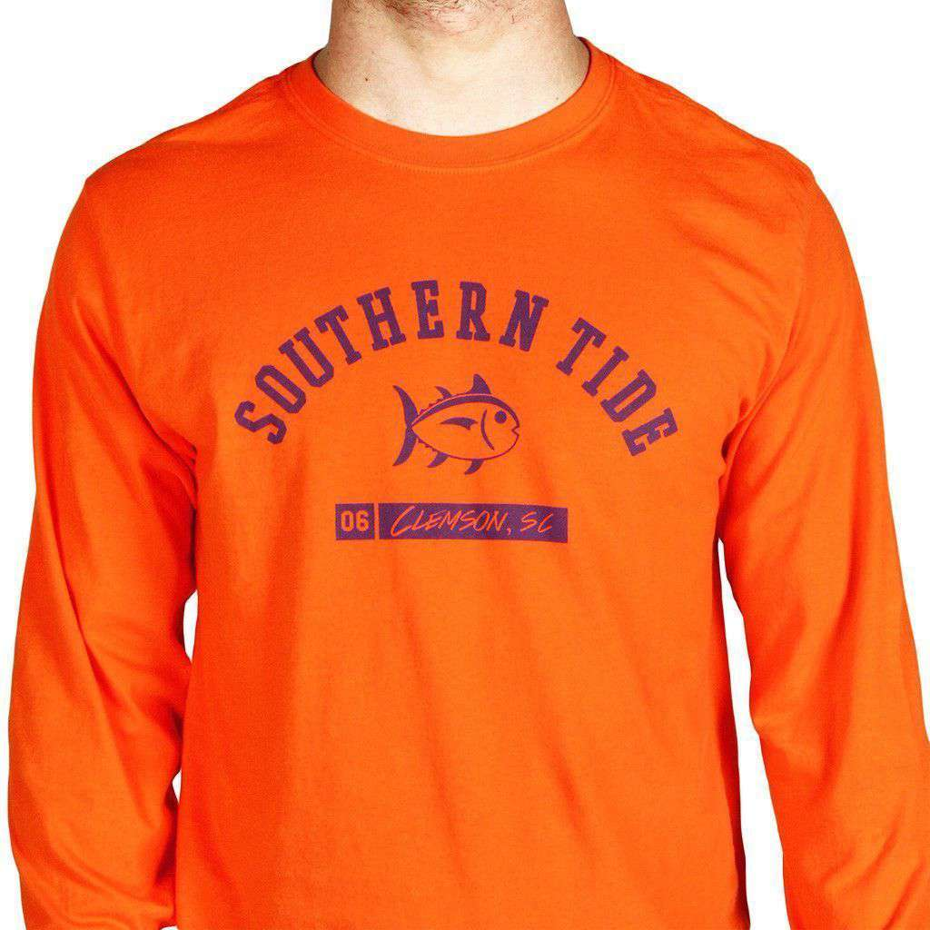 CU Long Sleeve Campus Tee in Endzone Orange by Southern Tide  - 1