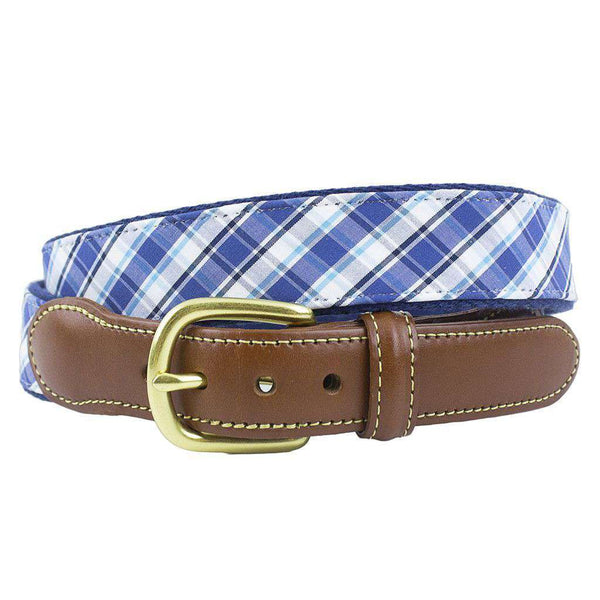 Cambridge Plaid Leather Tab Belt on Navy Canvas by Country Club Prep