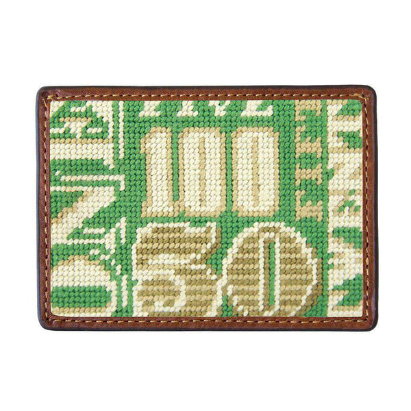 Smathers and Branson Cash Money Needlepoint Credit Card Wallet in Sage by Smathers & Branson