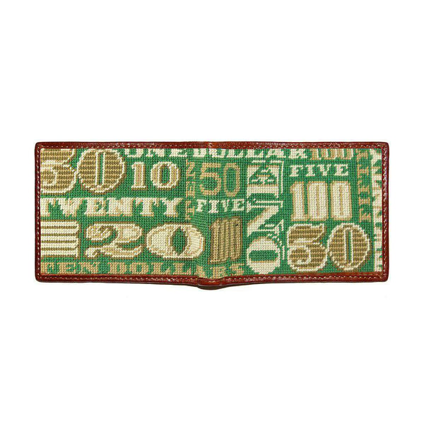 Smathers and Branson Cash Money Needlepoint Wallet in Sage by Smathers & Branson