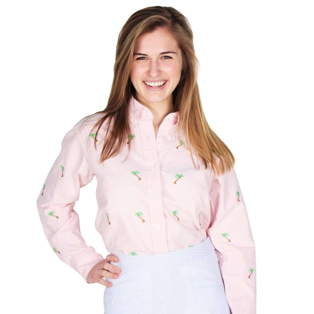 Ladies Oxford Button Down Shirt in Pink w/ Palm Trees by Castaway Clothing  - 1