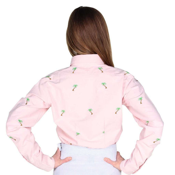 Ladies Oxford Button Down Shirt in Pink w/ Palm Trees by Castaway Clothing  - 2