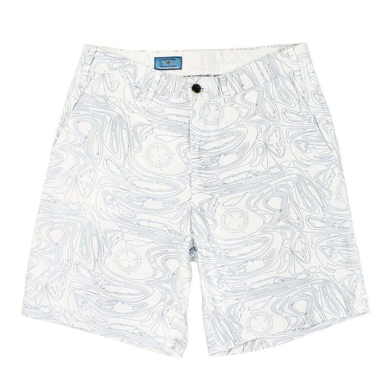 Cisco Shorts in White with Blue Chart Print by Castaway Clothing  - 1
