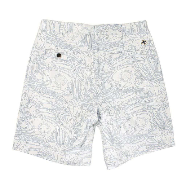 Cisco Shorts in White with Blue Chart Print by Castaway Clothing - FINAL SALE