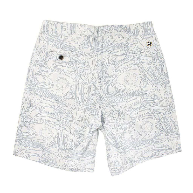 Cisco Shorts in White with Blue Chart Print by Castaway Clothing  - 2