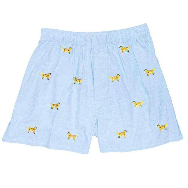 Castaway Clothing Barefoot Boxer in Blue Oxford with Embroidered Golden Retriever