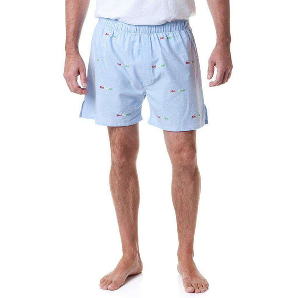 Castaway Clothing Barefoot Boxer in Blue Oxford with Embroidered Ho!Ho!Ho!