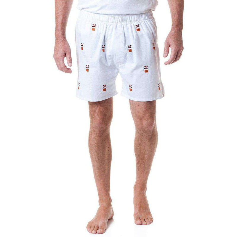 Castaway Clothing Barefoot Boxer in White Oxford with Embroidered Santa Stuck in Chimney