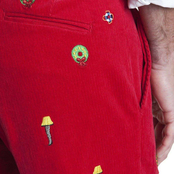 Beachcomber Corduroy Pant in Crimson with Embroidered Leg Lamp by Castaway Clothing