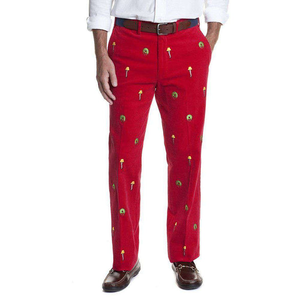 Castaway Clothing Beachcomber Corduroy Pant in Crimson with Embroidered Leg Lamp