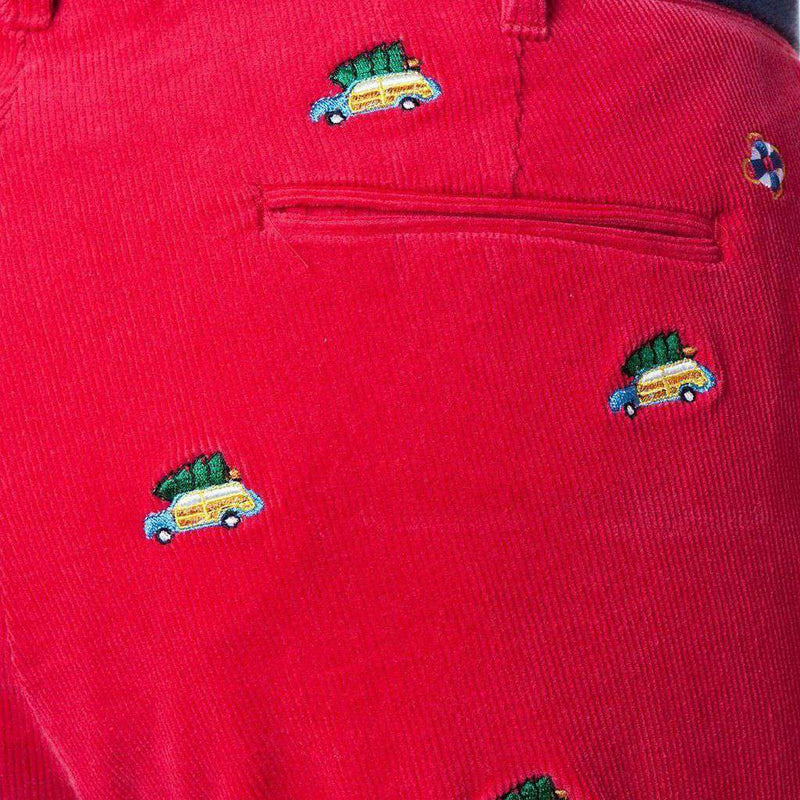 Castaway Clothing Beachcomber Corduroy Pant in Crimson with Embroidered Woody & Christmas Tree by Castaway Clothing
