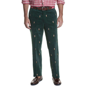 Castaway Clothing Beachcomber Corduroy Pant in Hunter with Embroidered Nutcracker
