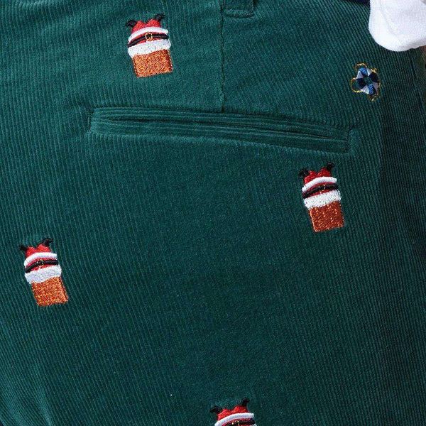 Beachcomber Corduroy Pant in Hunter with Embroidered Santa Stuck in Chimney by Castaway Clothing