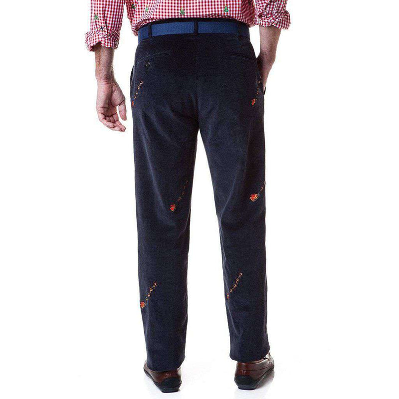 Castaway Clothing Beachcomber Corduroy Pant in Navy with Embroidered Santa Sleigh by Castaway Clothing