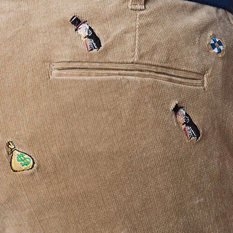 Beachcomber Corduroy Pant in Khaki with Embroidered Scrooge & Money Bag by Castaway Clothing