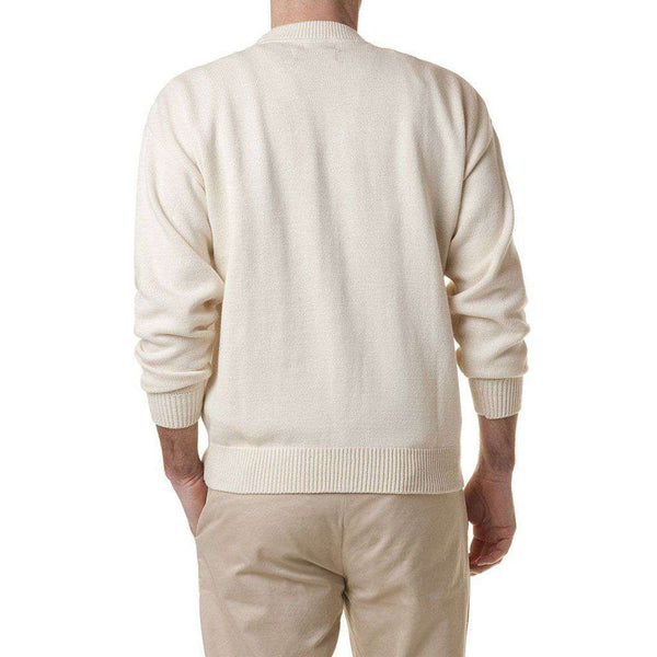 Crew Sweater with Embroidered American Flag in Cream by Castaway Clothing - FINAL SALE