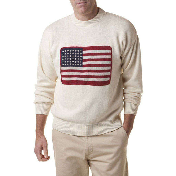 Castaway Clothing Crew Sweater with Embroidered American Flag in Cream