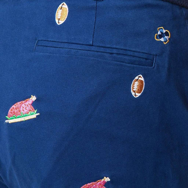 Harbor Pant in Atlantic with Embroidered Football and Cooked Turkey by Castaway Clothing