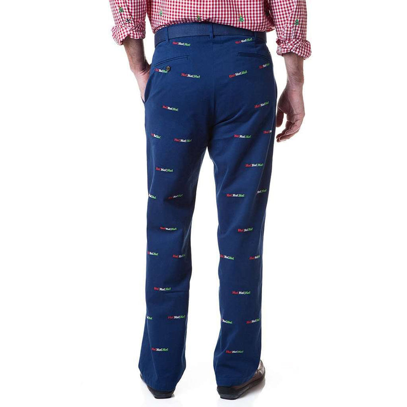 Harbor Pant in Atlantic with Embroidered Ho!Ho!Ho! by Castaway Clothing