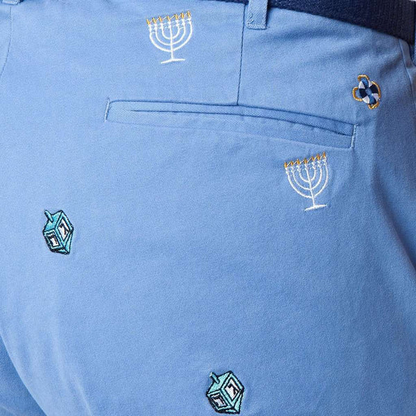 Harbor Pant in Storm with Embroidered Menorah & Dreidel by Castaway Clothing