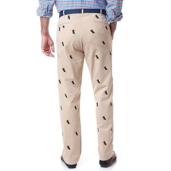 Harbor Pant with Embroidered Black Lab in Tan by Castaway Clothing - FINAL SALE