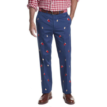 Castaway Clothing Harbor Pant with Embroidered Footballs and Solo Cups in Atlantic