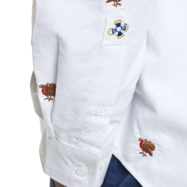 Castaway Clothing Straight Wharf Shirt in White Oxford with Embroidered Turkey