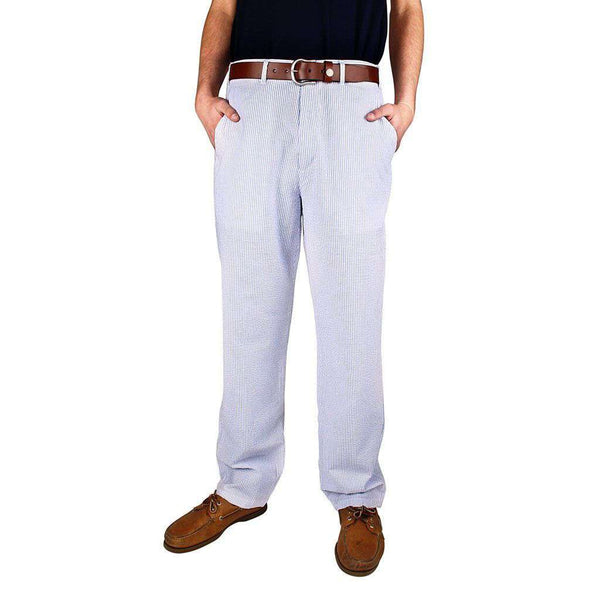 "Harbor Pants Plain Blue Seersucker (30"" inseam) by Castaway Clothing  - 1"