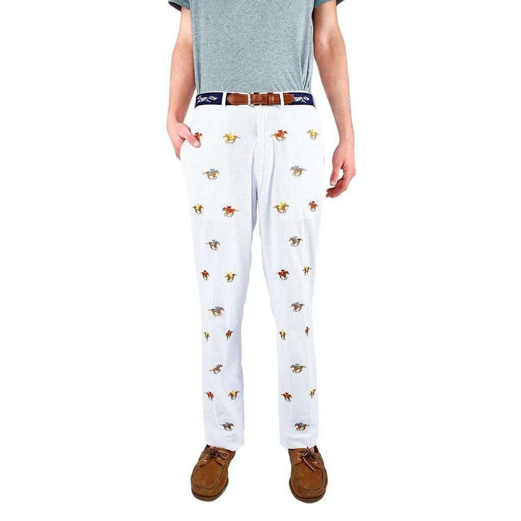 Embroidered Harbor Pants in Blue Seersucker with Embroidered Racing Horses by Castaway Clothing  - 1