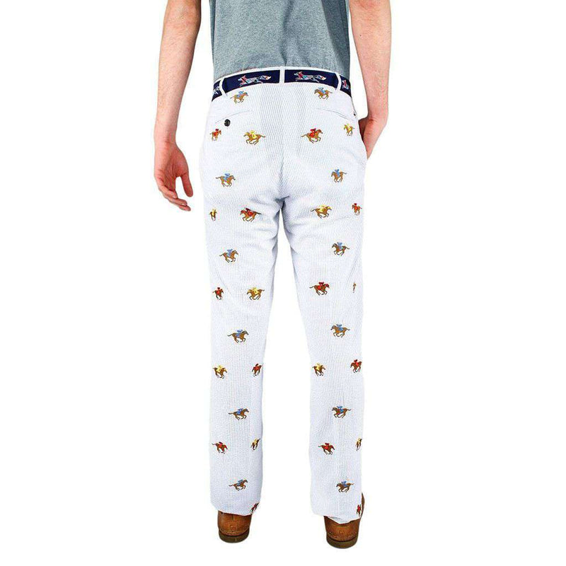 Embroidered Harbor Pants in Blue Seersucker with Embroidered Racing Horses by Castaway Clothing - FINAL SALE