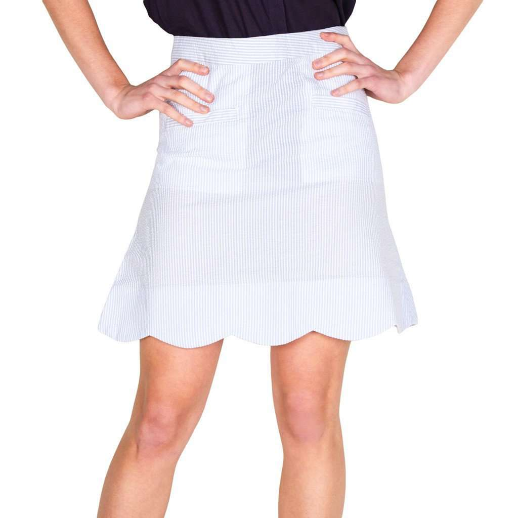 Scallop Skirt in Blue Seeresucker by Castaway Clothing  - 1