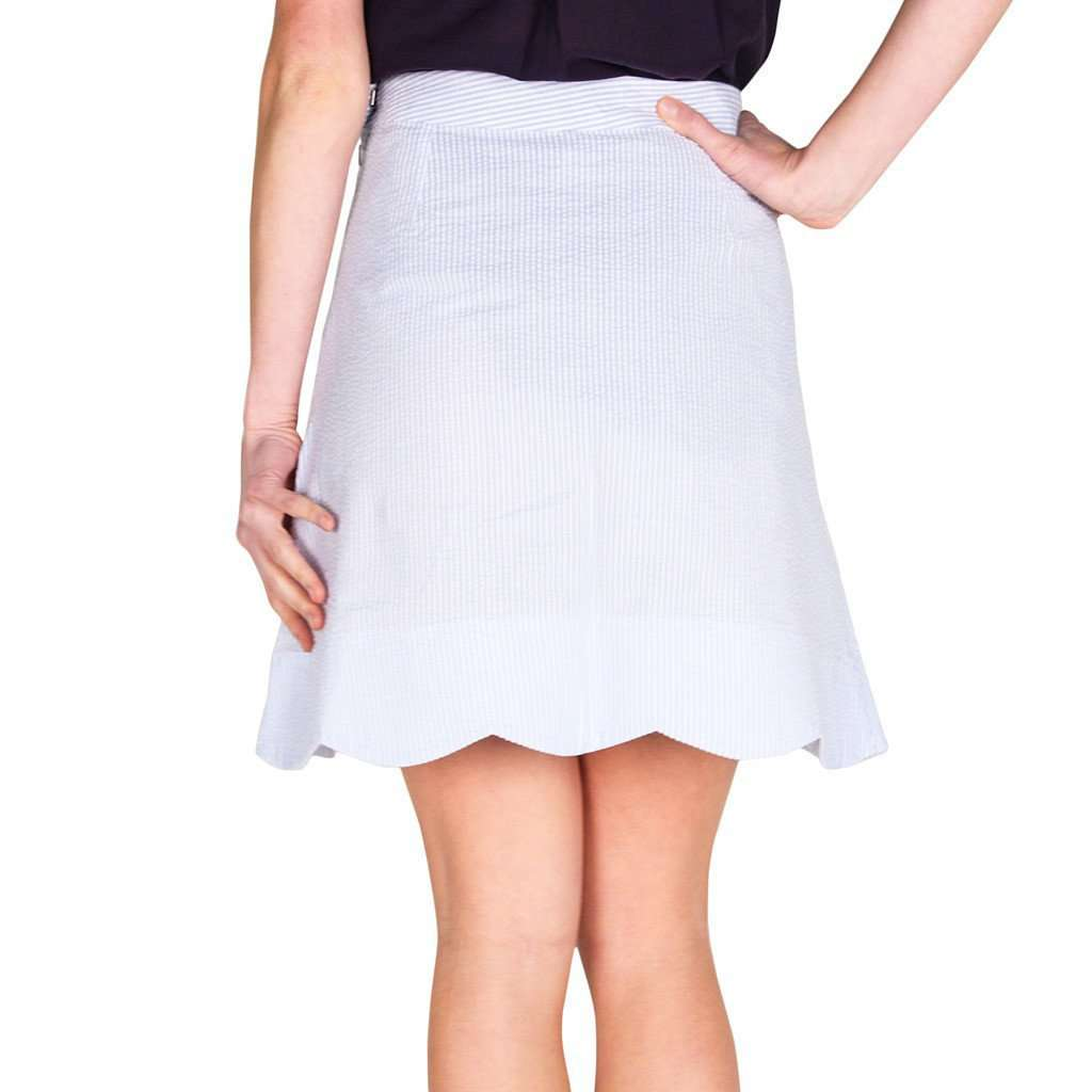 Scallop Skirt in Blue Seeresucker by Castaway Clothing  - 2