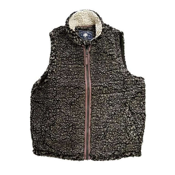 Live Oak Full Zip Fleece Sherpa Vest in Charcoal & Oatmeal