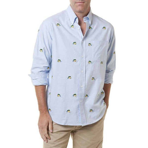 Chase Long Sleeve Oxford in Blue with Embroidered Woody and Christmas Tree by Castaway Clothing  - 1