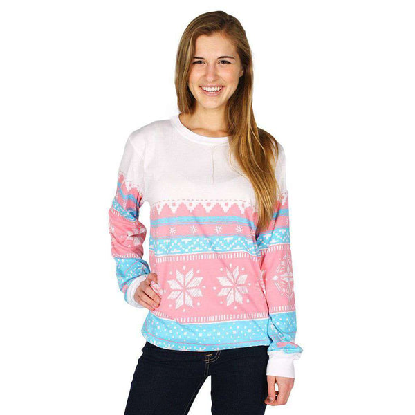Christmas Sweater Long Sleeve Tee Shirt in Pink Snowflake by Lauren James  - 1