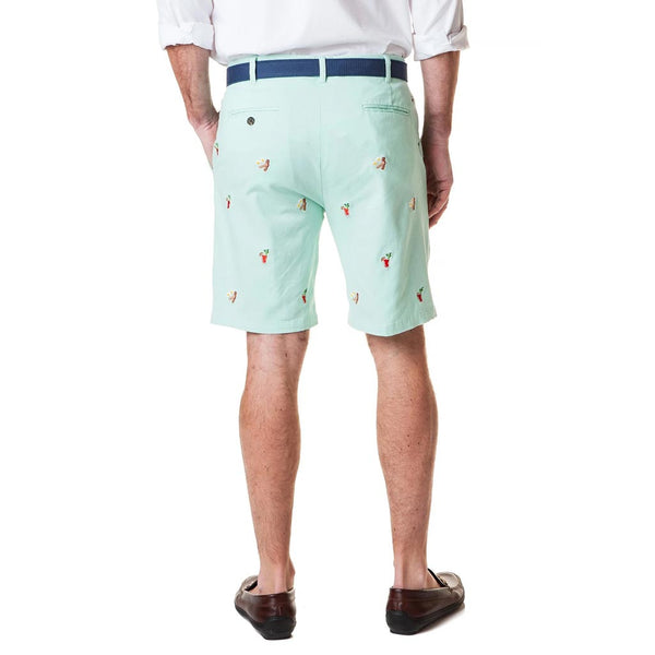 Stretch Twill Cisco Short with Embroidered Hangover Special in Mint by Castaway Clothing