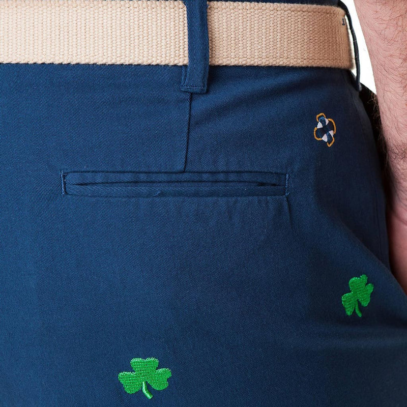 Stretch Twill Cisco Short with Shamrocks in Nantucket Navy by Castaway Clothing