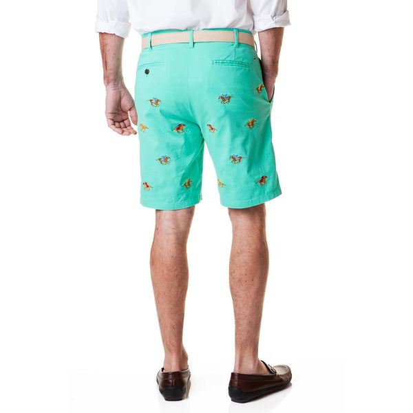 Stretch Twill Cisco Short with Embroidered Racing Horses by Castaway Clothing