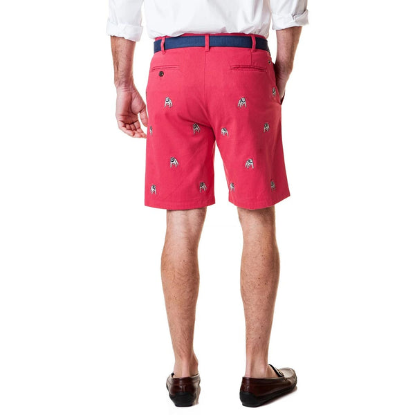 Stretch Twill Cisco Short with Bulldog in Hurricane Red by Castaway Clothing