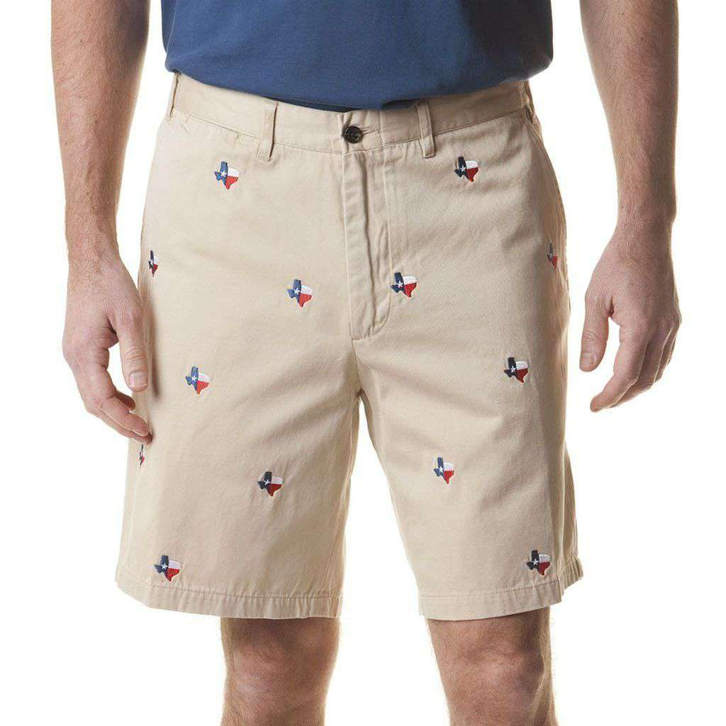 Cisco Short in Tan with Embroidered Lonestar State by Castaway Clothing - Country Club Prep