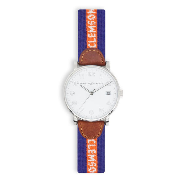 Clemson University Needlepoint Watch by Smathers & Branson