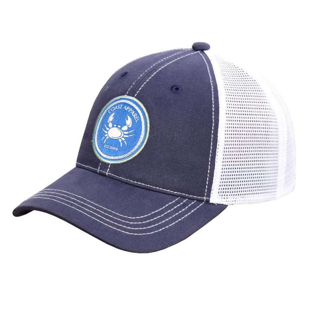 Needlepoint Navy Coast Trucker Hat In Coast Crab Patch Country Club Prep