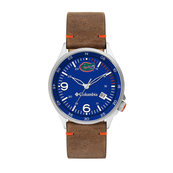 University of Florida Canyon Ridge 3-Hand Date Saddle Leather Watch by Columbia Sportswear