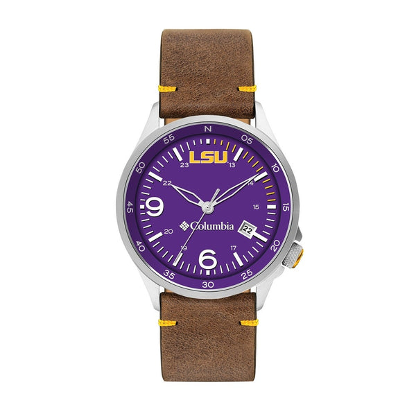 LSU Canyon Ridge 3-Hand Date Saddle Leather Watch by Columbia Sportswear
