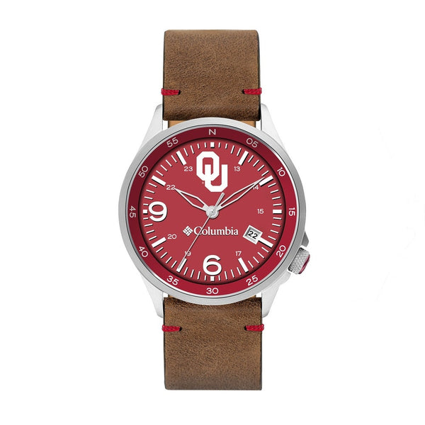 University of Oklahoma Canyon Ridge 3-Hand Date Saddle Leather Watch by Columbia Sportswear