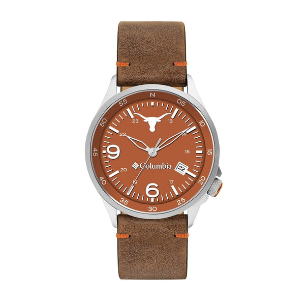 Texas Longhorns Canyon Ridge 3-Hand Date Saddle Leather Watch by Columbia Sportswear