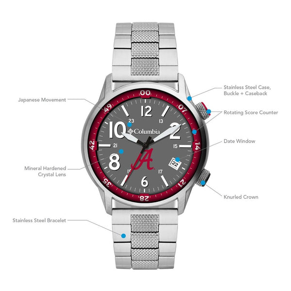 Alabama Outbacker 3-Hand Date Stainless Steel Watch by Columbia Sportswear