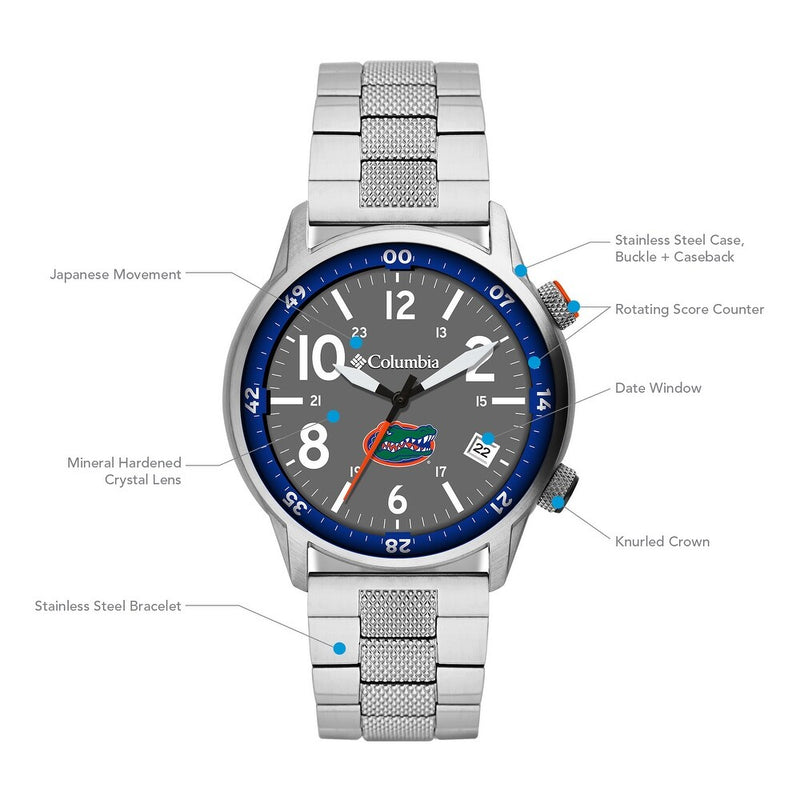 University of Florida Outbacker 3-Hand Date Stainless Steel Watch by Columbia Sportswear